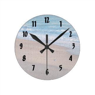birds on beach crackle sea shore florida round clock