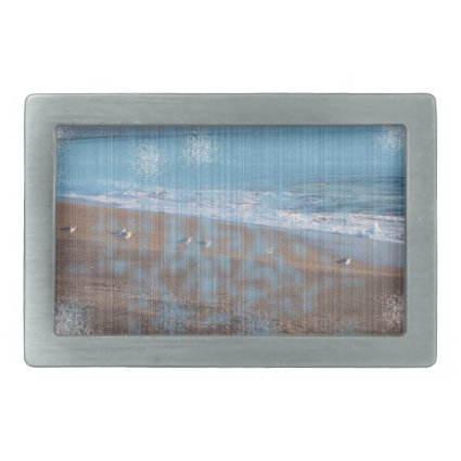 birds on beach grunged stripes shore image belt buckles
