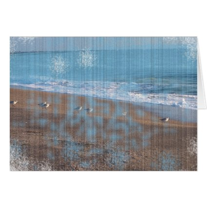 birds on beach grunged stripes shore image cards