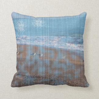 birds on beach grunged stripes shore image throw pillow