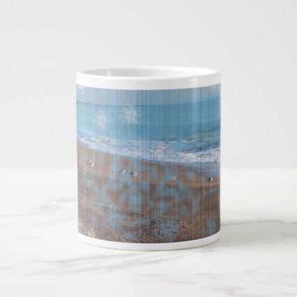birds on beach grunged stripes shore image extra large mug