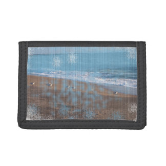 birds on beach grunged stripes shore image wallet