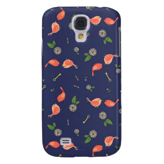 Birds on Blue with Flowers and Keys Galaxy S4 Covers