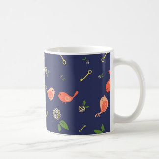 Birds on Blue with Flowers and Keys Coffee Mug