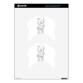 Birds on Branch of Sakura Cherry Blossoms Low Poly Xbox 360 Controller Decal