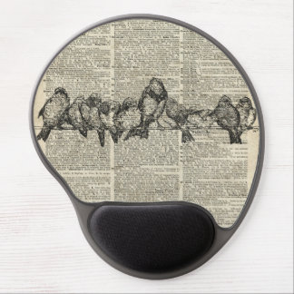 Birds on Branch Vintage Stencil Over Old Book Page Gel Mouse Pad
