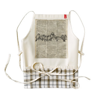 Birds on Branch Vintage Stencil Over Old Book Page Zazzle HEART Apron