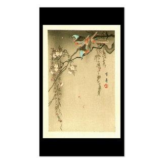 Birds on Cherry Tree by Seitei Watanabe 1851- 1918 Business Cards