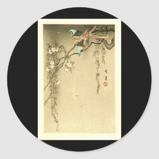 Birds on Cherry Tree by Seitei Watanabe 1851- 1918 Classic Round Sticker