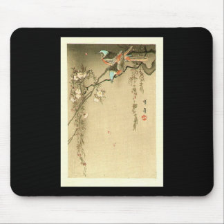 Birds on Cherry Tree by Seitei Watanabe 1851- 1918 Mouse Pad