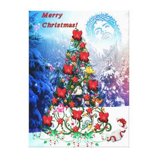 Birds on Christmas Tree Canvas Print