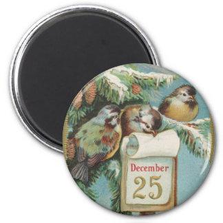 Birds on Decemeber 25th 2 Inch Round Magnet