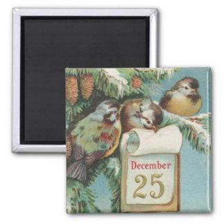 Birds on Decemeber 25th 2 Inch Square Magnet