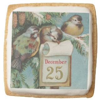 Birds on Decemeber 25th Square Shortbread Cookie