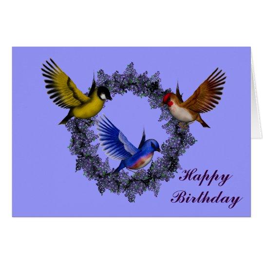 Birds On Flower Wreath Birthday Card