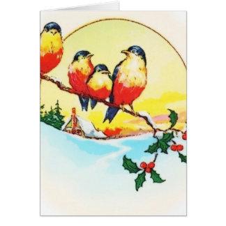 BIRDS ON HOLLY CARD