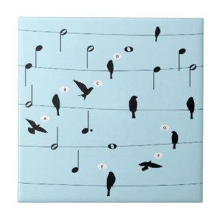 Birds On Music Wires Heart Ceramic Tile