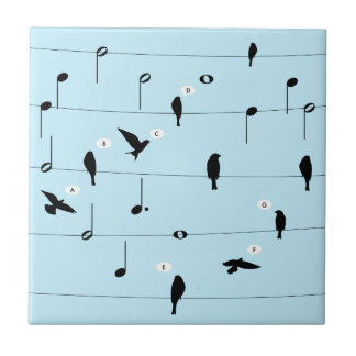 Birds On Music Wires Heart Ceramic Tiles