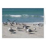 birds on ocean beach greeting card