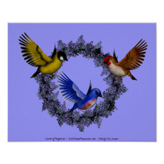 Birds On Purple Flower Wreath Poster Print