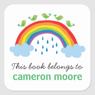 Birds on rainbow personalized bookplate book