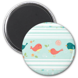 Birds on Stripes with Flowers 2 Inch Round Magnet