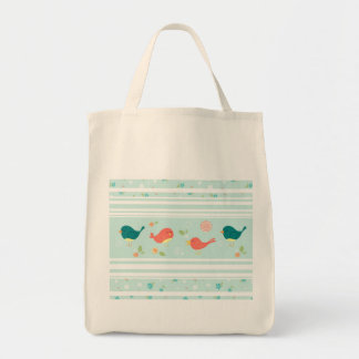 Birds on Stripes with Flowers Bags