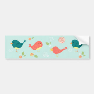 Birds on Stripes with Flowers Bumper Stickers