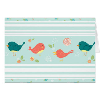 Birds on Stripes with Flowers Card