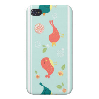 Birds on Stripes with Flowers Case For iPhone 4