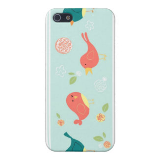 Birds on Stripes with Flowers iPhone 5 Case