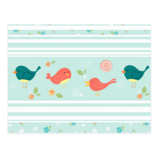 Birds on Stripes with Flowers Postcard
