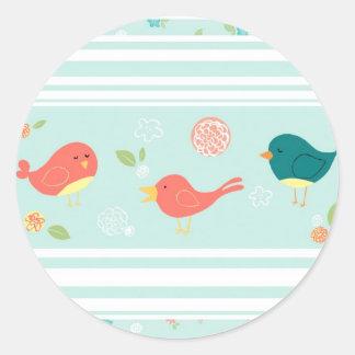 Birds on Stripes with Flowers Classic Round Sticker