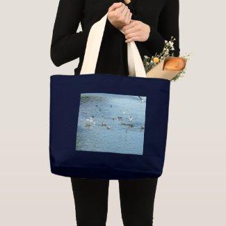 Birds On Summer River Large Tote Bag
