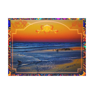 Birds on the Beach at Dawn Fancy Fish & Shell Art Canvas Print