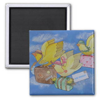 Birds on the Move New Address Announcement 2 Inch Square Magnet