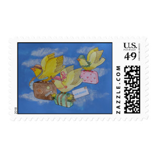 Birds on the Move New Address Announcement Stamp