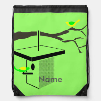 Birds on Tree Branch and Birdhouse Personalized Drawstring Bag
