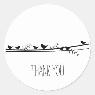 Birds on Vine Thank you Classic Round Sticker