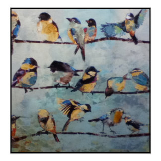 Birds on Wire Painting Print