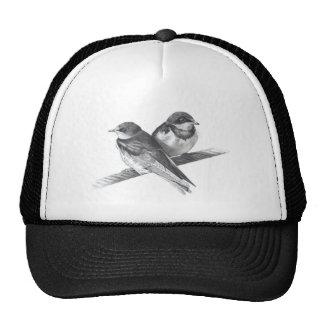 BIRDS ON WIRE PENCIL ARTWORK TRUCKER HAT
