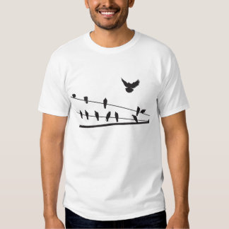 Birds on wire t shirt