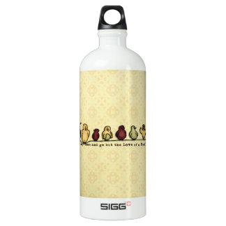 Birds on wire yellow background family quote aluminum water bottle