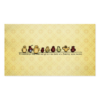 Birds on wire yellow background family quote business card