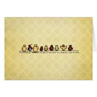 Birds on wire yellow background family quote card