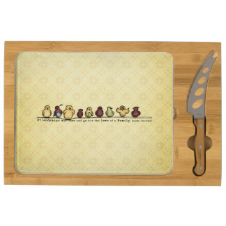 Birds on wire yellow background family quote cheese board