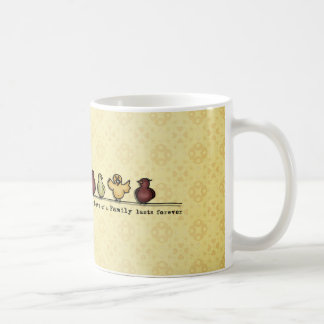 Birds on wire yellow background family quote coffee mug