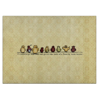 Birds on wire yellow background family quote cutting board
