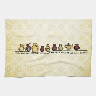 Birds on wire yellow background family quote hand towel