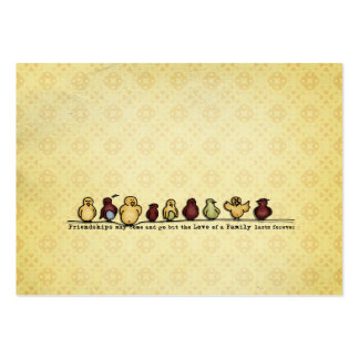 Birds on wire yellow background family quote large business card
